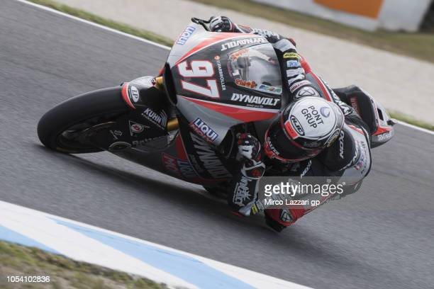 Xavi Vierge of Spain and Dynavolt Intact GP rounds the bend during the Moto2 qualifying during qualifying for the 2018 MotoGP of Australia at Phillip...