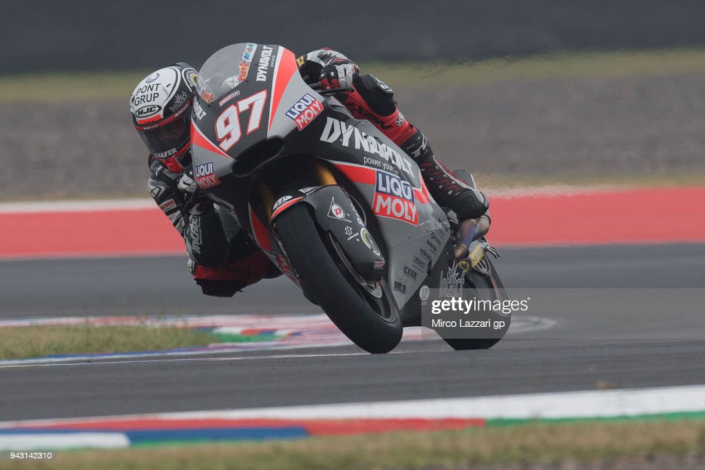 Xavi Vierge of Spain and Dynavolt Intact GP rounds the bend during the qualifying practice during the MotoGp of Argentina - Qualifying on April 7, 2018 in Rio Hondo, Argentina.