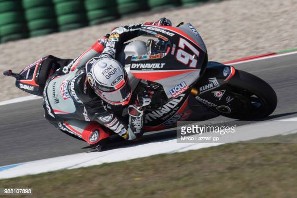 Xavi Vierge of Spain and Dynavolt Intact GP rounds the bend during the Moto2 Qualifying practice during the MotoGP Netherlands Qualifying on June 30...