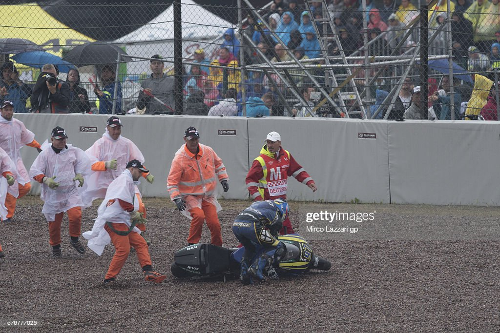 Xavi Vierge of Spain and Tech3 Racing crashed out during the Moto2 race during the MotoGp of Germany - Race at Sachsenring Circuit on July 17, 2016 in Hohenstein-Ernstthal, Germany.