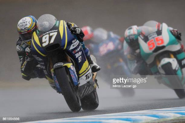 Xavi Vierge of Spain and Tech3 Racing leads the field during the Moto2 race during the MotoGP of Japan Race at Twin Ring Motegi on October 15 2017 in...