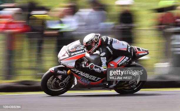 TOPSHOT Xavi Vierge of Spain speeds through a corner on his Kalex during the Moto2 practice session at the Phillip Island circuit on October 27 ahead...