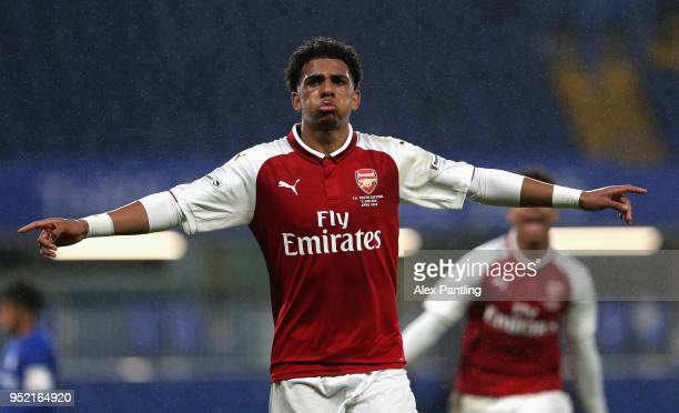 Xavier Amaechi of Arsenal celebrates after he scores his sides first goal during the FA Youth Cup Final first leg match between Chelsea and Arsenal...