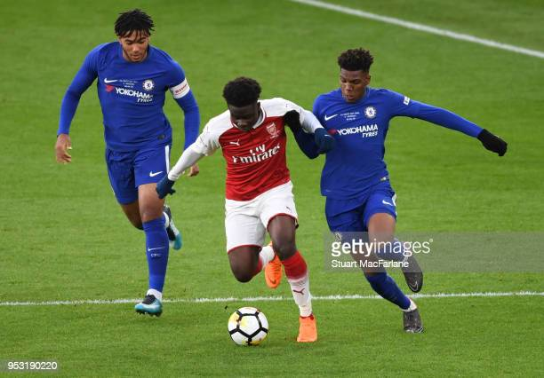 Xavier Amaechi of Arsenal challenged by Dujon Sterling of Chelsea during the FA Youth Cup Final 2nd Leg between Arsenal and Chelsea at Emirates...