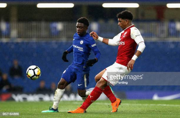 Xavier Amaechi of Arsenal scores his sides first goal during the FA Youth Cup Final first leg match between Chelsea and Arsenal at Stamford Bridge on...