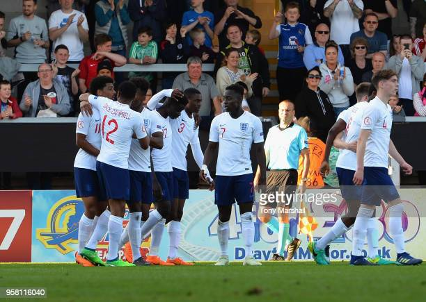 Xavier Amaechi of England celebrates scoring their second goal during the UEFA European Under17 Championship Between Norway and England at Pirelli...