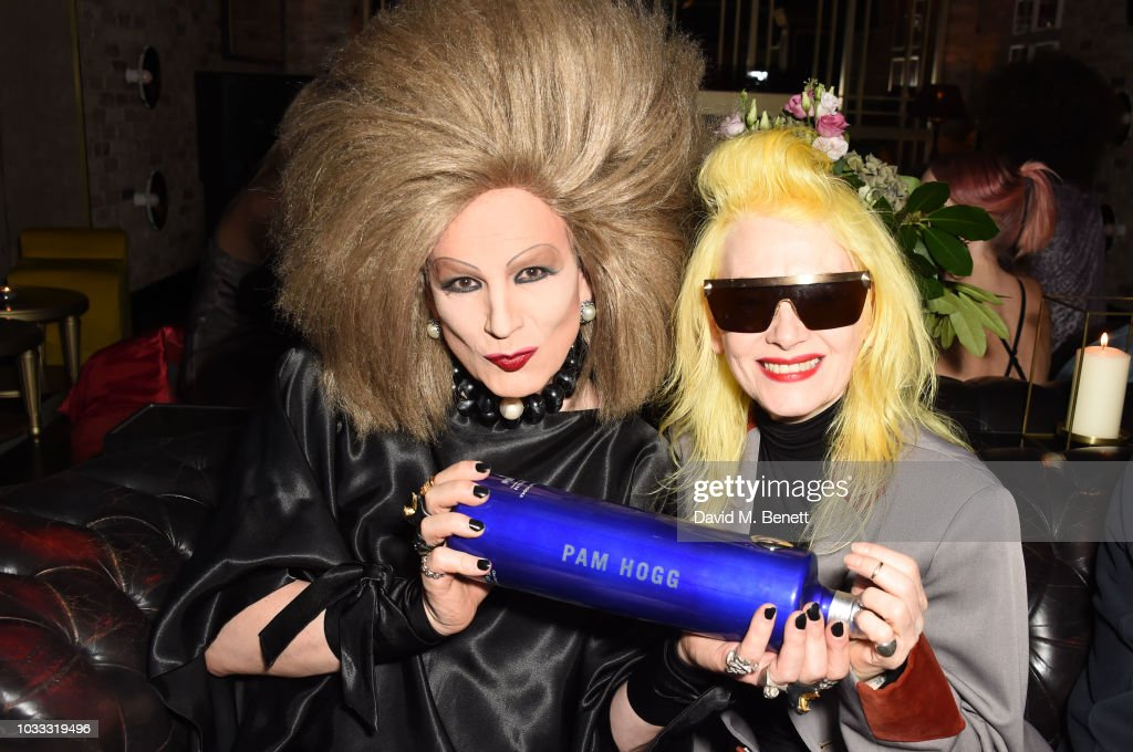 Xavier Arakistain and Pam Hogg attend an after party celebrating the Pam Hogg catwalk show during London Fashion Week September 2018 at Kadie's on September 14, 2018 in London, England.