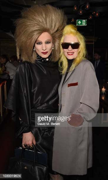 Xavier Arakistain and Pam Hogg attend an after party celebrating the Pam Hogg catwalk show during London Fashion Week September 2018 at Kadie's on...