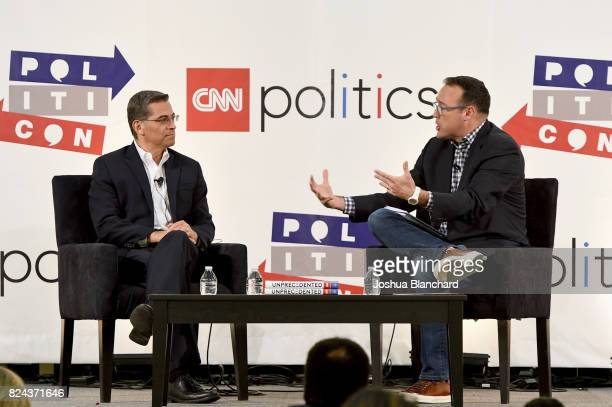 Xavier Becerra and Christopher Cillizza at 'The Pont' panel during Politicon at Pasadena Convention Center on July 29 2017 in Pasadena California
