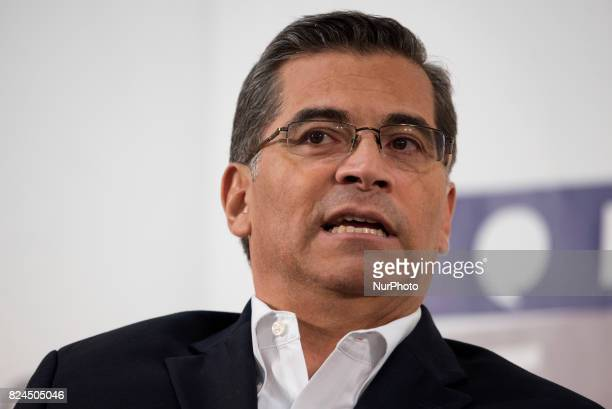 Xavier Becerra Attorney General of the State of California speaks during Politicon at the Pasadena Convention Center in Pasadena California on July...