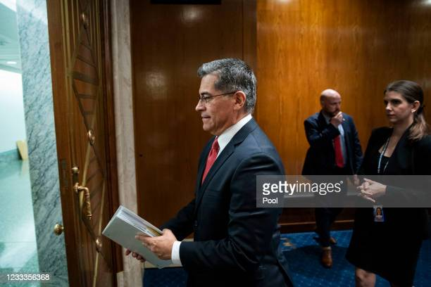 Xavier Becerra, Secretary of Health and Human Services , departs a Senate Appropriations Subcommittee hearing on June 9, 2021 at the U.S. Capitol in...