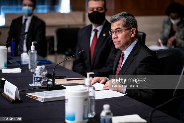 Xavier Becerra, secretary of Health and Human Services nominee for US President Joe Biden, speaks during a Senate Health, Education, Labor and...