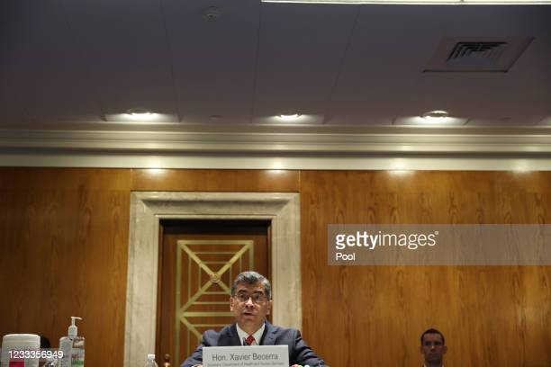 Xavier Becerra, Secretary of the Department of Health and Human Services , testifies before a Senate Appropriations Subcommittee at the U.S. Capitol...