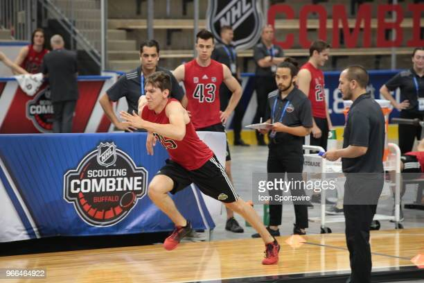 Xavier Bernard completes the pro agility test during the NHL Scouting Combine on June 2 2018 at HarborCenter in Buffalo New York