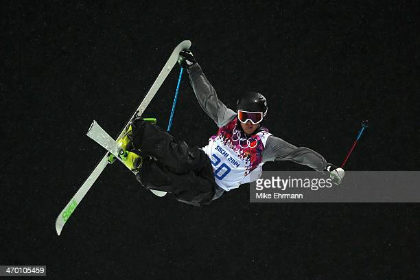 Xavier Bertoni of France competes in the Freestyle Skiing Men's Ski Halfpipe Qualification on day eleven of the 2014 2014 Winter Olympics at Rosa...