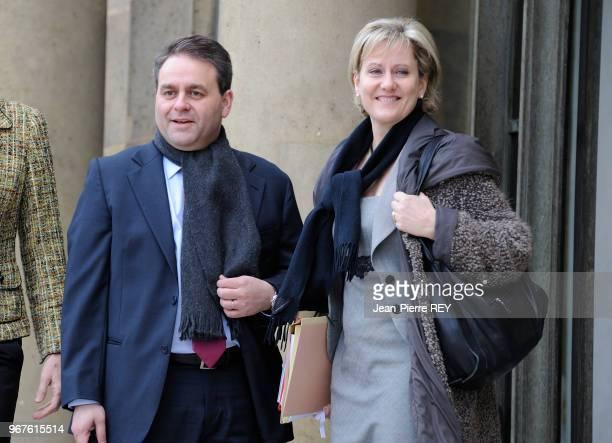Xavier Bertrand et Nadine Morano lors du conseil des ministres le 19 mars 2008 à Paris France