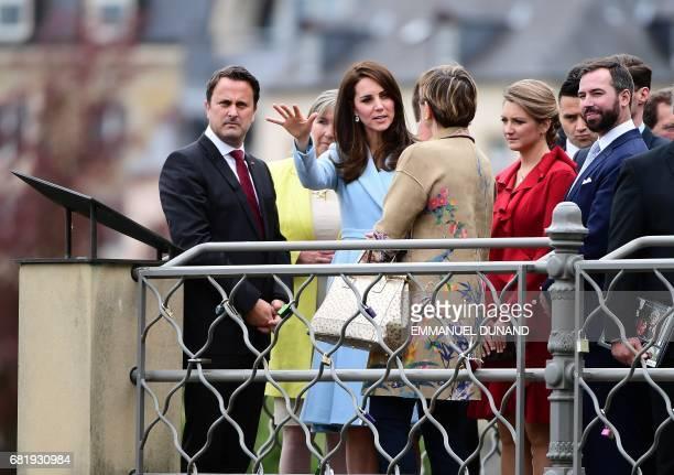 Xavier Bettel Luxembourg's Prime Minister Britain's Catherine Duchess of Cambridge Princess Stephanie Hereditary Grand Duchess of Luxembourg and...
