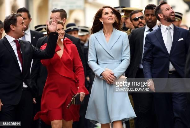 Xavier Bettel Luxembourg's Prime Minister Princess Stephanie Hereditary Grand Duchess of Luxembourg Britain's Catherine Duchess of Cambridge and...