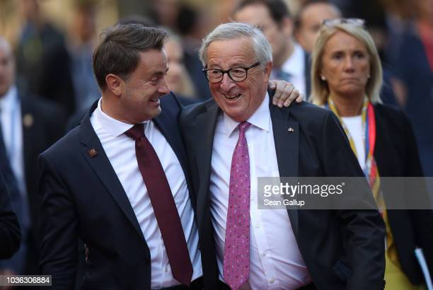 Xavier Bettel , Prime Minister of Luxembourg, and Jean-Claude Juncker, President of the European Commission, arrive for the first working session of...