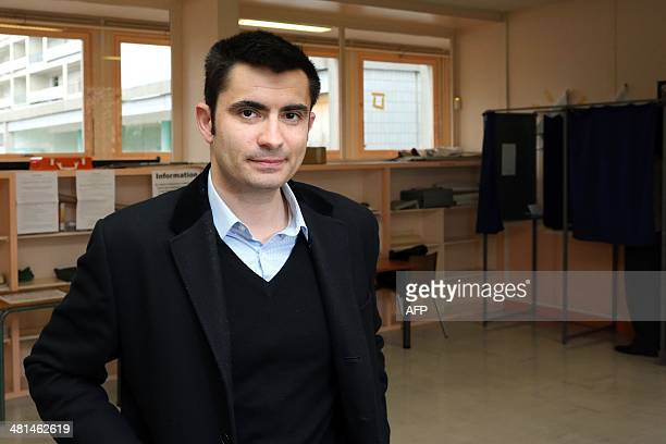 Xavier Bonnefont French rightwing opposition Union for a Popular Movement candidate for the mayoral election in Angouleme poses after voting in the...