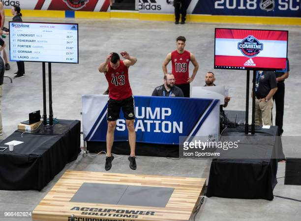 Xavier Bouchard completes the studding jump test during the NHL Scouting Combine on June 2 2018 at HarborCenter in Buffalo New York