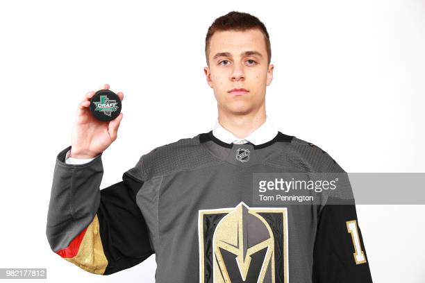 Xavier Bouchard poses after being selected 185th overall by the Vegas Golden Knights during the 2018 NHL Draft at American Airlines Center on June 23...