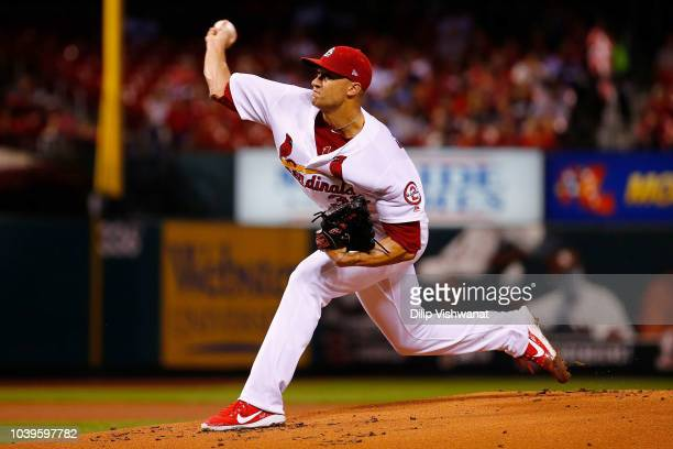 Xavier Cedeno of the Milwaukee Brewers delivers a pitch against the St Louis Cardinals in the seventh inning at Busch Stadium on September 24 2018 in...