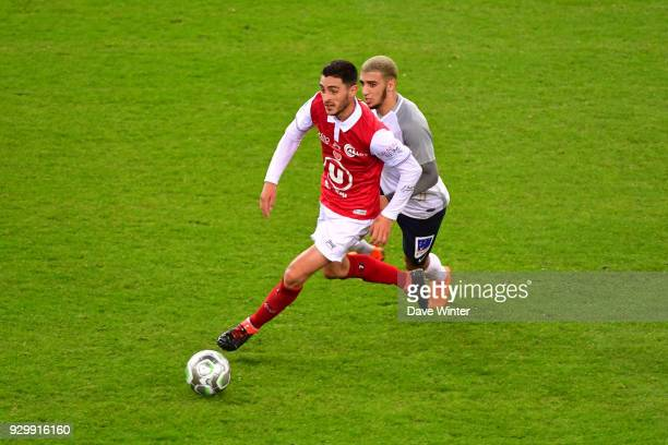 Xavier Chavalerin of Reims and Said Benrahma of Chateauroux during the French Ligue 2 match between Reims and Chateauroux at Stade Auguste Delaune on...