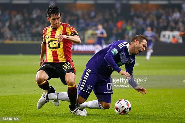 Xavier Chen defender of KV Mechelen and Diego Capel midfielder of RSC Anderlecht pictured during the Jupiler Pro League match between RSC Anderlecht...