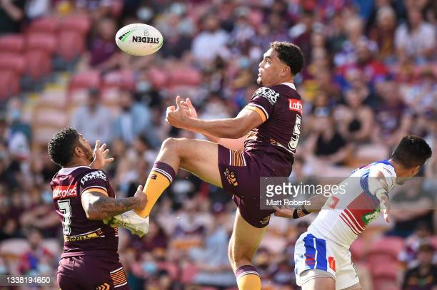 Xavier Coates of the Broncos competes for the ball during the round 25 NRL match between the Brisbane Broncos and the Newcastle Knights at Suncorp...