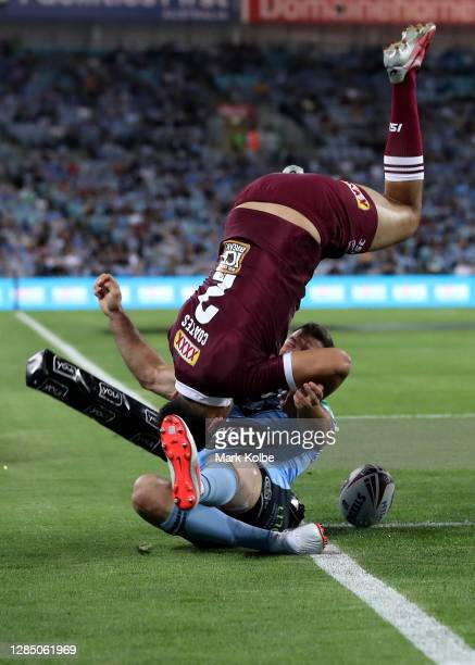 Xavier Coates of the Maroons scores a try during game two of the 2020 State of Origin series between the New South Wales Blues and the Queensland...
