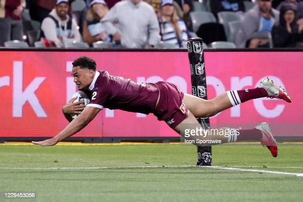 Xavier Coates of the QLD Maroons scores a try during game one of the 2020 State of Origin series between the Queensland Maroons and New South Wales...