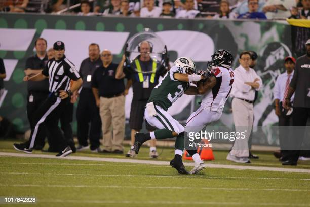Xavier Coleman of the New York Jets in action during the preseason National Football League game between the New York Jets and the Atlanta Falcons on...