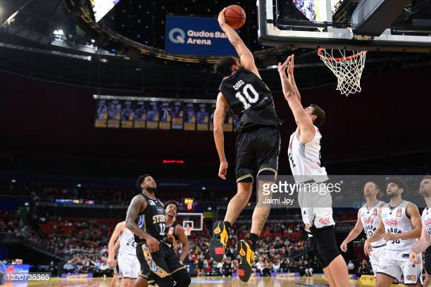 Xavier Cooks of Sydney Kings shoots during the round 20 NBL match between Sydney Kings and Melbourne United at Qudos Bank Arena, on May 29 in Sydney,...