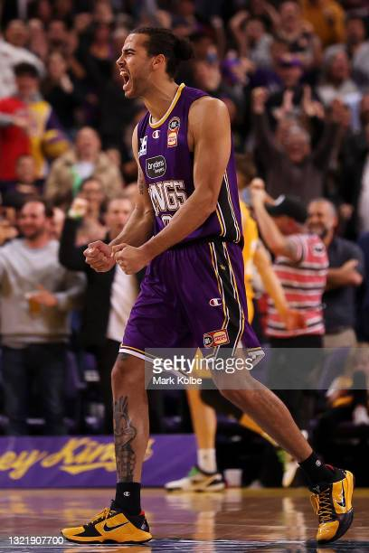 Xavier Cooks of the Kings celebrates victory during the round 21 NBL match between Sydney Kings and Brisbane Bullets at Qudos Bank Arena, on June 05...