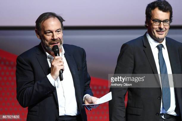 Xavier Couture General Director of France television and Laurent Eric Le Lay during presentation of Team France for Winter Games PyeongChang 2018 on...