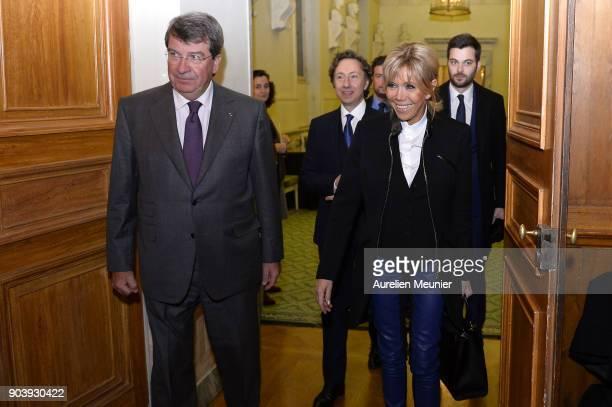Xavier Darcos Stephane Bern and French First Lady Brigitte Macron attends the Prix Histoire et Prix Patrimoine 2017 de La Fondation Stephane Bern at...