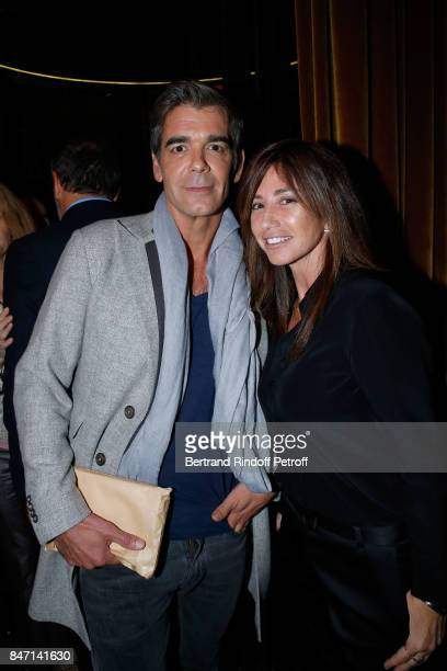 Xavier de Moulins and Albane Cleret attend the Reopening of the Hotel Barriere Le Fouquet's Paris decorated by Jacques Garcia at Hotel Barriere Le...