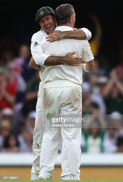 Xavier Doherty of Australia celebrates his first test wicket with captain Ricky Ponting after taking the wicket of Ian Bell of England during day one...