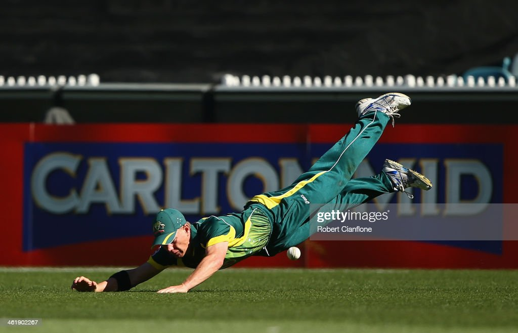 Xavier Doherty of Australia drops a catch during game one of the one day international series between Australia and England at the Melbourne Cricket Ground on January 12, 2014 in Melbourne, Australia.