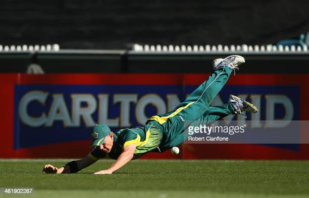 Xavier Doherty of Australia drops a catch during game one of the one day international series between Australia and England at the Melbourne Cricket...