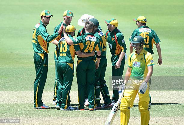 Xavier Doherty of Tasmania celebrates with team mates after taking the wicket of Matthew Short during the Matador BBQs One Day Cup match between...