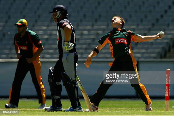 Xavier Doherty of the Tigers bowls during the Ryobi One Day Cup match between the Victoria Bushrangers and the Tasmania Tigers at Melbourne Cricket...