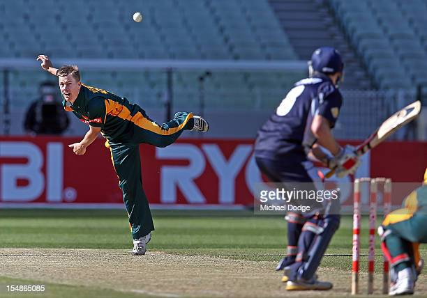 Xavier Doherty of the Tigers bowls during the Ryobi One Day Cup match between Victorian Bushrangers and the Tasmanian Tigers at Melbourne Cricket...