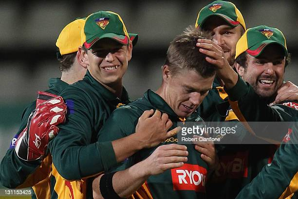 Xavier Doherty of the Tigers celebrates wthe run out of James Pattinson of the Bushrangers during the Ryobi One Day Cup match between the Tasmania...