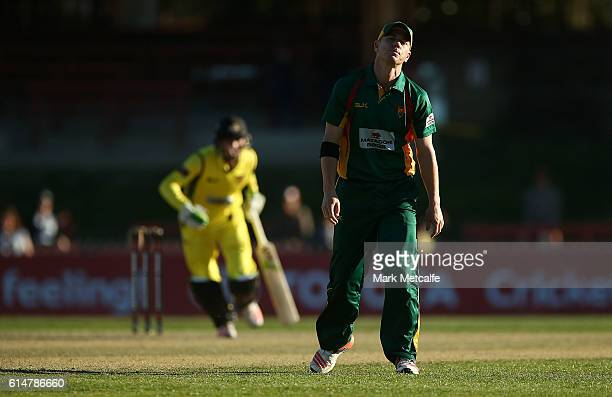 Xavier Doherty of the Tigers looks dejected as he watches a Warriors boundary during the Matador BBQs One Day Cup match between Tasmania and Western...