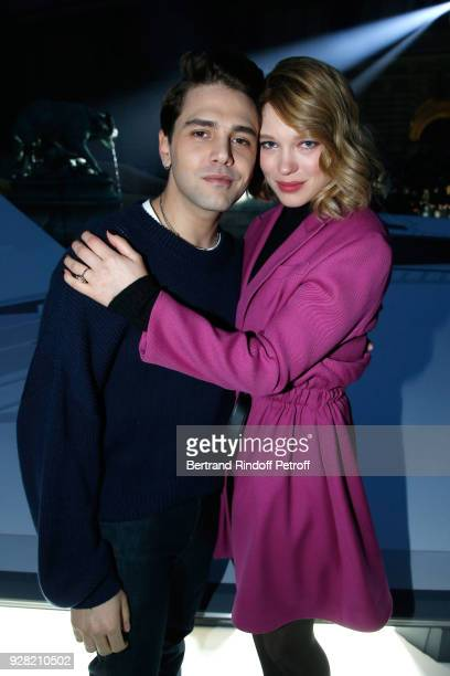 Xavier Dolan and Lea Seydoux attend the Louis Vuitton show as part of the Paris Fashion Week Womenswear Fall/Winter 2018/2019 on March 6 2018 in...