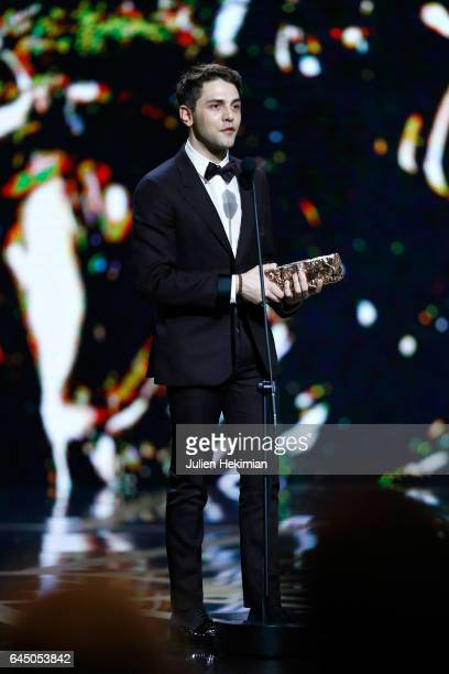 Xavier Dolan receives the Cesar of Best Film Editing for 'Juste la fin du monde' during the Cesar Film Awards Ceremony at Salle Pleyel on February 24...