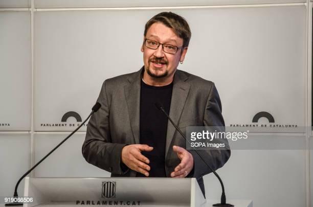 Xavier Domenèch during his speech in the Newsroom of the Parliament of Catalonia Xavier Domenèch deputy for Catalunya en Comú has presented a motion...