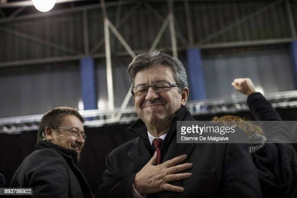 Xavier Domenech candidate for En Comu Podem a coalition party with French Jean Luc Melenchon leader of Les Insoumis movement during a meeting of En...